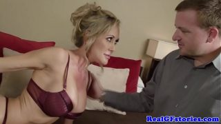 Blindfolded blonde busty milf sucks cock