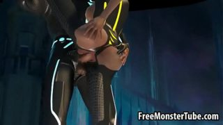 Busty 3D cartoon Tron babe getting fucked hard